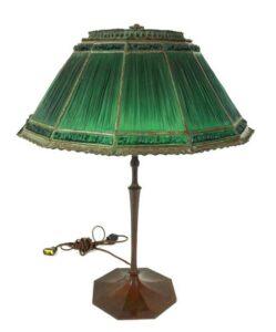 26 Inch Tiffany Studio Green Linen Fold Table Lamp